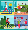 fitness training people icon set vector image
