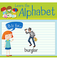 Flashcard letter B is for burglar vector image vector image