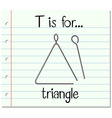 Flashcard letter T is for triangle vector image