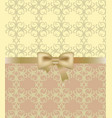gold bow on ornament background vector image vector image