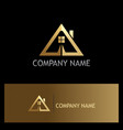 gold triangle roof house logo vector image vector image
