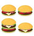 hamburger flat design set vector image