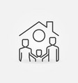 happy family under house ro concept line vector image