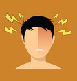 headache migraine men with red head vector image