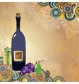 Holiday card with wine bottle grapes gift box and vector image vector image