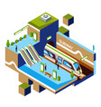 isometric subway station concept vector image