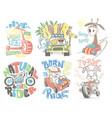 kids t-shirt designs set cartoon vector image