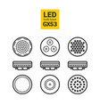led light gx53 bulbs outline icon set vector image vector image