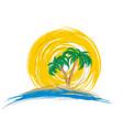 logo sea with palm tree vector image