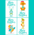 merry christmas animals on vector image vector image