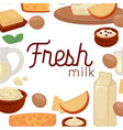 milk and dairy farm food products cheese vector image