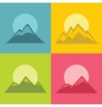 Mountain flat icons with sun on color background vector image