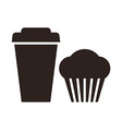 Muffin and coffee to go icon vector image vector image