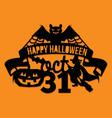 paper cut silhouette halloween bat spider web vector image vector image
