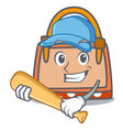 playing baseball hand bag character cartoon vector image vector image
