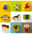 Republic of Germany icons set flat style vector image vector image