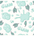 seamless pattern with hand drawn mint bubble gum vector image