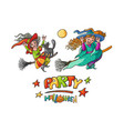 set girls witches on broom with cats for children vector image