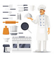 set isolated kitchen utensil and cook with hat vector image