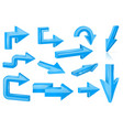 set of blue arrows shiny 3d web icons vector image vector image