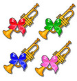 set of golden pioneer trumpets with colored ribbon vector image