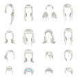 Set of sixteen different gray hairstyles for women vector image