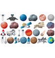 set planets and space obejcts vector image vector image