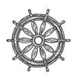 ship steering wheel sketch engraving vector image