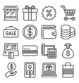 shopping icon set on white background line style vector image vector image