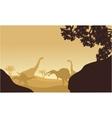 Silhouette of Brachiosaurus and spinosaurus vector image vector image