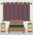 Single Bed In Front Of Curtain And Brick Wall vector image vector image