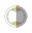 sticker circular border with leaves and flowers vector image vector image