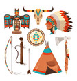 symbols set of american indians vector image