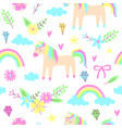 unicorn seamless pattern vector image