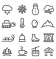 winter and snow line icons vector image vector image