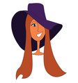 woman wearing big purple hat print on white vector image vector image