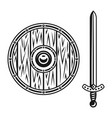 wooden shield and sword set objects vector image