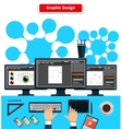 Workspace Graphic Design Monitor Tablet Keyboard vector image vector image