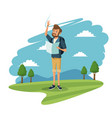 young guy traveler tourist mountain landscape vector image