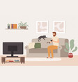 young man watch tv drinking tea and watching vector image vector image