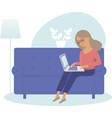 young woman working home as freelancer vector image