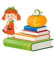 little girl in pumpkin outfit vector image