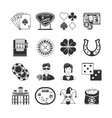 Casino Black Icons Set vector image