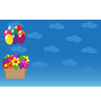 Balloons hanging basket with colorful flowers vector image