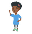african girl with open mouth pointing finger up vector image