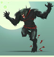angry werewolf monster turning under full moon vector image