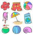 art summer object doodles vector image vector image