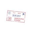barcelona airport arrival or departure visa stamp vector image vector image
