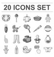 birth of a baby monochrome icons in set collection vector image vector image