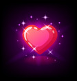 bright pink glossy heart with sparkles slot icon vector image vector image